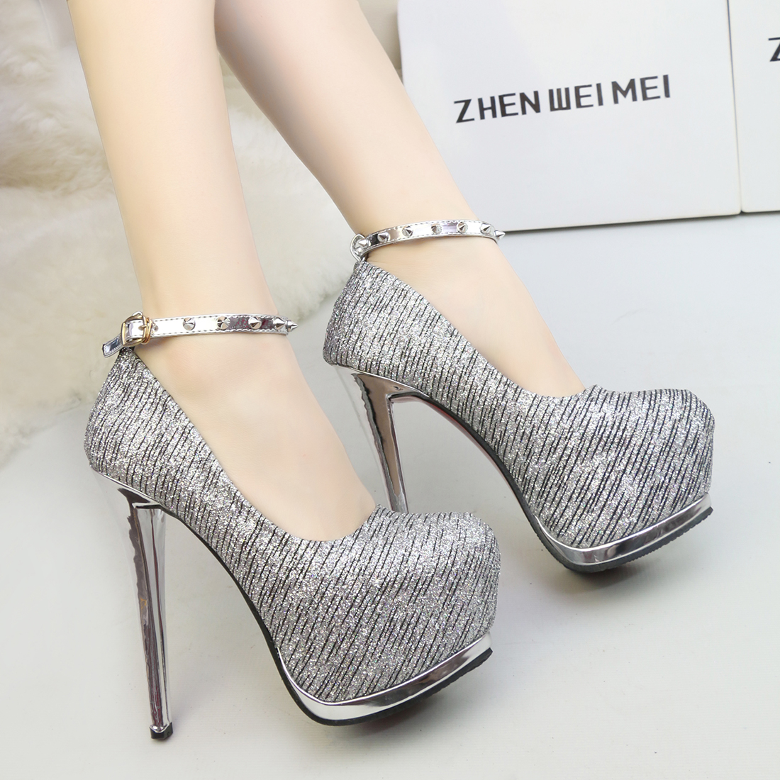 0f54bcd6b7ad Striped Party Ankle Strap Women Wedding Shoes Sexy Strappy Super High Heel  Shoes Crystal Buckle Rivet Stiletto Club Shoes-in Women s Pumps from Shoes  on ...