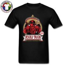 Super Hero Deadpool Crops Farmer Tshirts DEADLY TACOS 3D Printed Faddish Vintage Tee Shirts For Men New Design Tops Tees