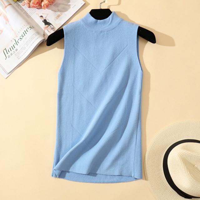2018 Spring Summer Knitted Tank Top Tshirt Women Sexy Sleeveless Fitness Tops Tee Womens High Neck Vest T-Shirt Cropped Feminino