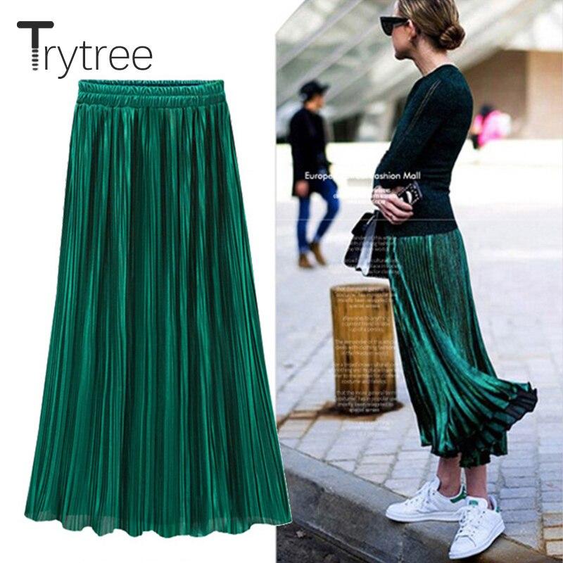 Trytree Spring Summer Pleated Skirt Womens Vintage High Waist Skirt Solid Long Skirts New Fashion Casual Metallic Skirt Female