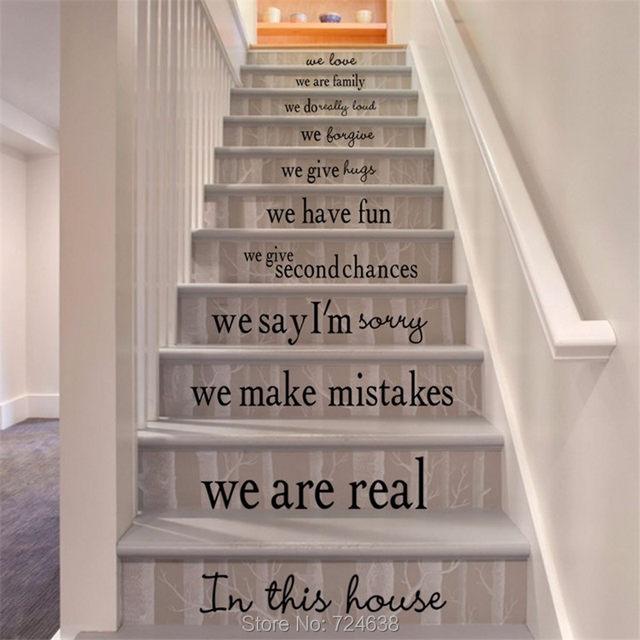 Vinyle Stickers Stair  Dans Cette Maison  Nous Faisons Quote