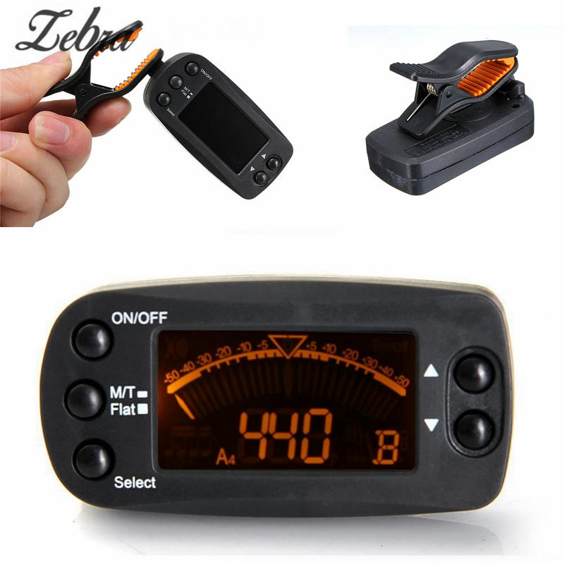 Zebra 2 in 1 Clip Tuner Metronome 360 Degree Rotatable Clip guitar Tuners Machines for Guitar Beat Tempo Bass Violin Ukulele  2 2 lcd digital tuner metronome for guitar bass violin black 2 x aaa