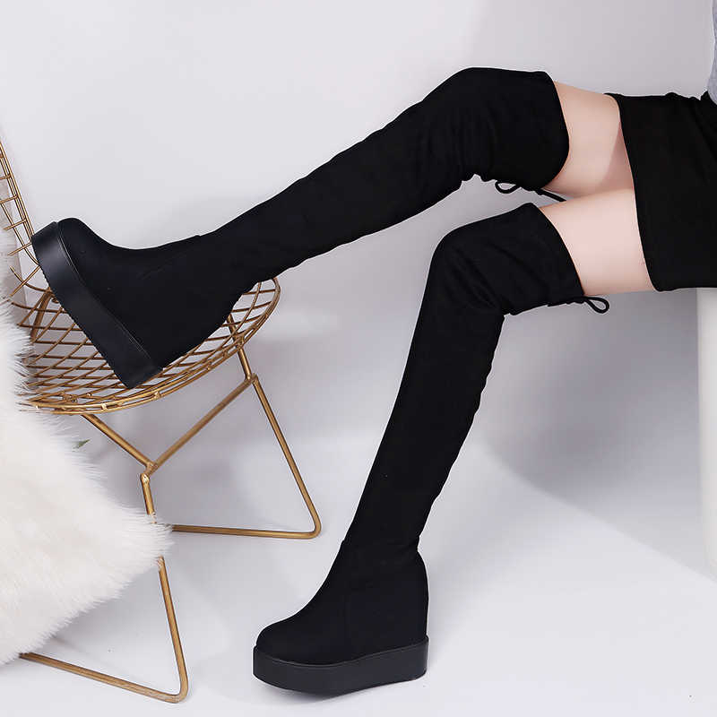 ef03833881b M Thigh High Boots Platform Winter Boots Women Over the Knee Boots Suede  Long Boots High