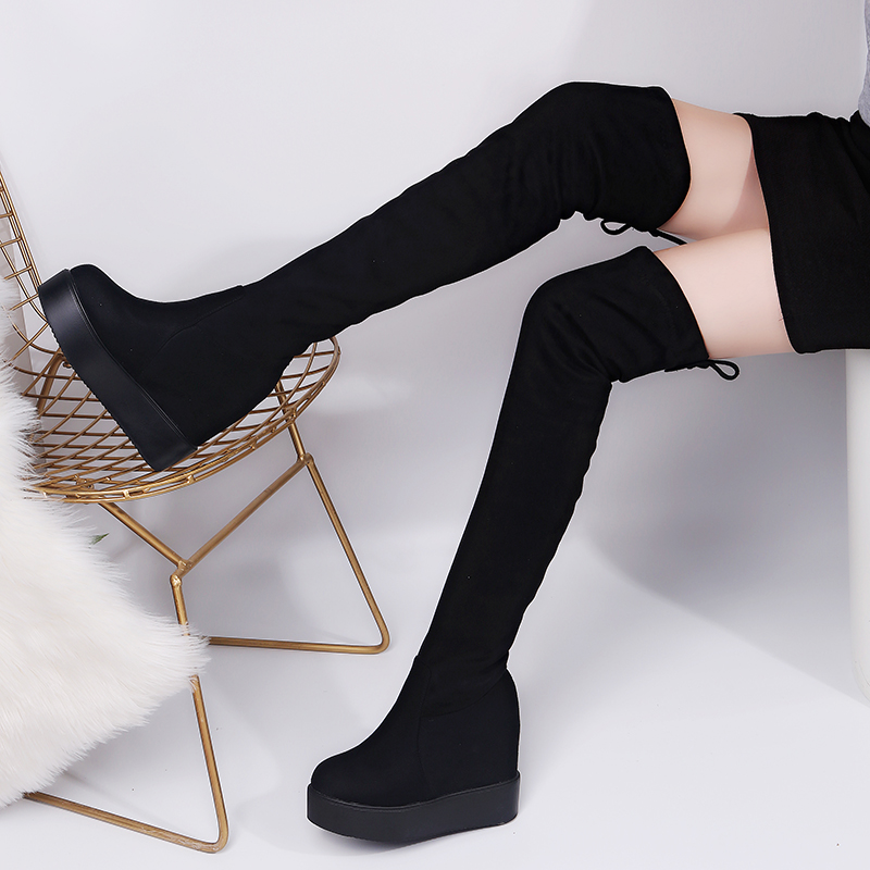 Spring Thigh High Boots Platform Winter Boots Women Over the Knee Boots Suede Long Boots High Heels Fur Plush Wedge Shoes Woman