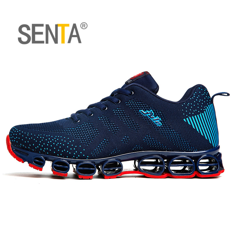 SENTA High-quality Men's Running Shoes  Unique Sole Breathable Mesh Outdoor Athletic Shoe Shock Absorption Jogging Shoes