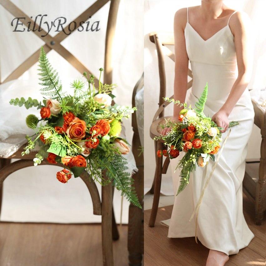 Pays mariage fleur Bouquet 2019 nouveau Orange nuptiale Bouquet fait à la main artificiel Kwiaty demoiselle d'honneur Bouquet fleur artificielle