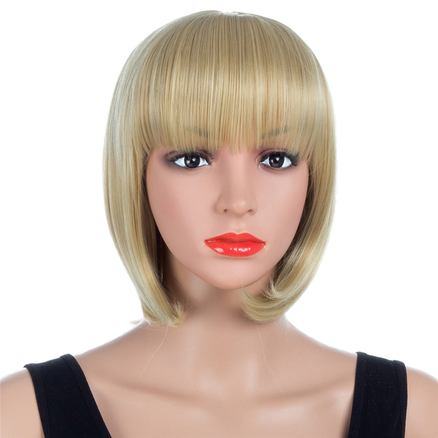 ELEGANT MUSES 10 Inches Short Straight Wigs for Women Bangs Bobo Hair Synthetic Wig Highlights High Temperature Fiber