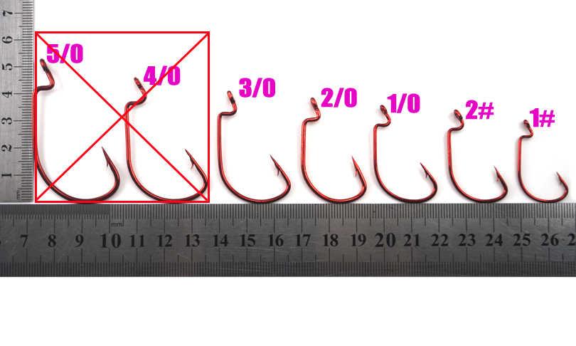 MNFT 60 قطعة الأحمر كرنك السنانير + 15 قطعة لينة إغراء موصل/مجموعة عالية الكربون الصلب حجم 1 #2 #1/0 #2/0 #3/0 # لينة دودة الطعم الصيد هوك