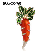 Blucome Cute Orange Carrot Brooch Enamel Green Leaves Gold-color Pins Suit Scarf Clothes Corsage Jewelry Women Men Kids Gifts(China)
