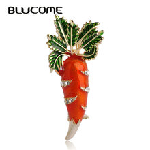 Brooch Enamel Blucome Scarf Jewelry Pins Gifts Women Cute Suit Corsage Carrot Leaves