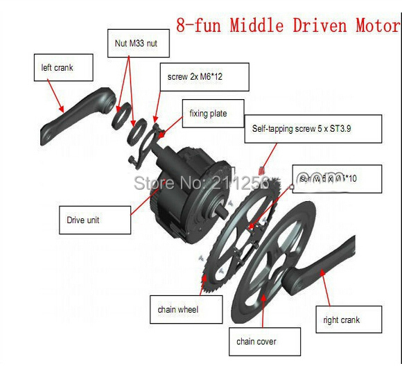 48v750w 8fun Bafang Bafun Bbs02 Mid Drive Motor Kits Mid