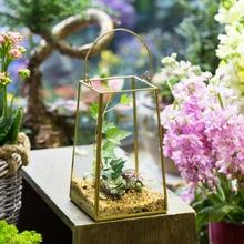 Brass Copper Gold Echelon Geometric Glass Terrarium Lantern Succulent Plant Hanging Flowerpot with Handle