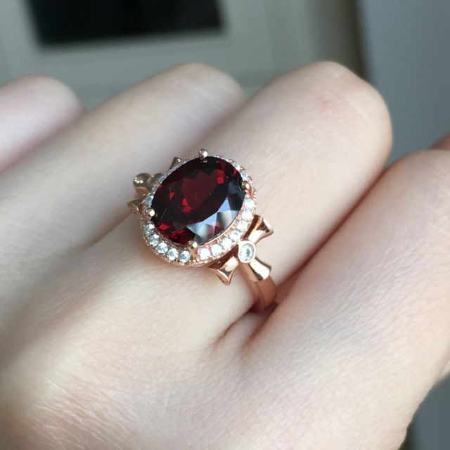 [MeiBaPJ Natural Red Garnet Gemstone Trendy  Ring for Women Real 925 Sterling Silver Charm Fine Jewelry