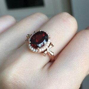 Image 1 - MeiBaPJ bague en pierres précieuses en grenat rouge naturelle pour femmes, bijou fin à breloques en argent Sterling 925