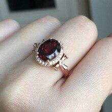 [MeiBaPJ doğal kırmızı granat taş moda yüzük kadınlar için gerçek 925 ayar gümüş Charm güzel takı