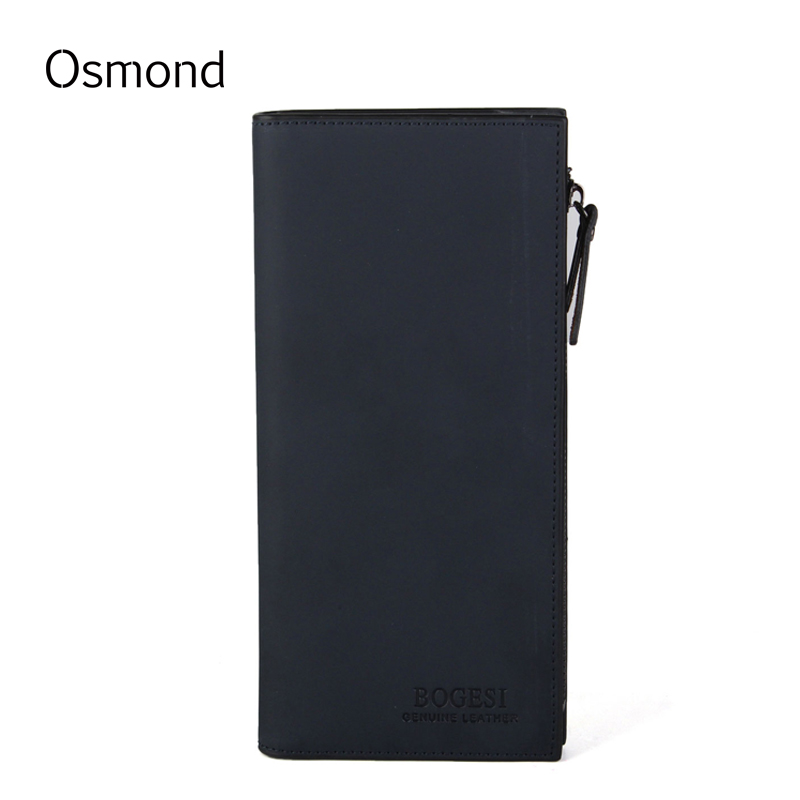 Osmond Men Wallets Genuine Leather Coin Purse Mens Long Wallet Zipper Business Brand Card Holder Clutch Carteira Cowhide Pouch