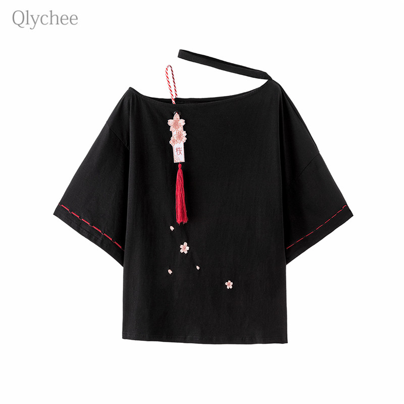 Qlychee Sakura Tassel Halter Neck T Shirt Off Shoulder Three Quarter Sleeve Women T-shirt Spring Summer Sweet Japan Style Tees