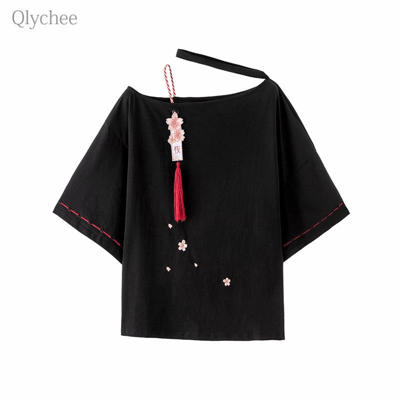 Qlychee Sakura Tassel Halter Neck T Shirt Off Shoulder Three Quarter Sleeve Women T-shirt Spring Summer Sweet Japan Style Tees