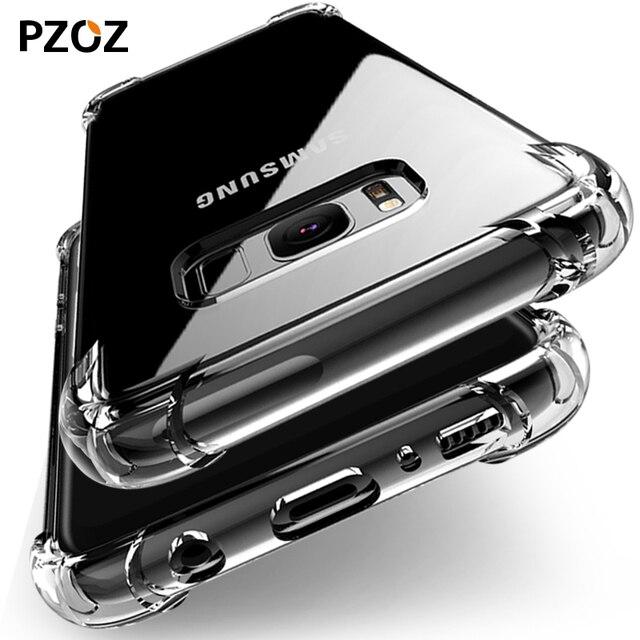 Pzoz для Samsung Galaxy S8 силиконовый чехол Роскошные противоударный для Galaxy S8 плюс оригинальная крышка прозрачная защитная Броня S8 телефон ТПУ