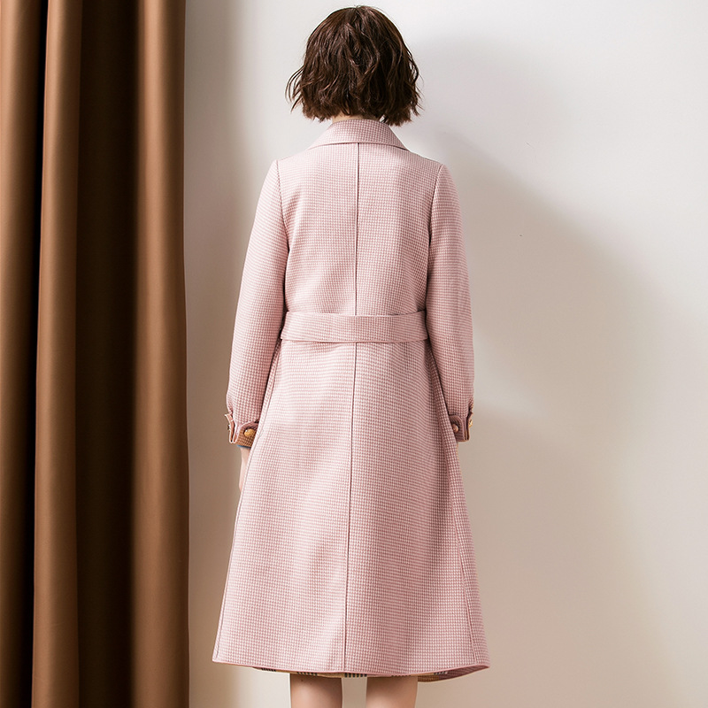 Turn down collar a line long wool coats 2018 new wome autumn winter plaid wool coats in Wool amp Blends from Women 39 s Clothing