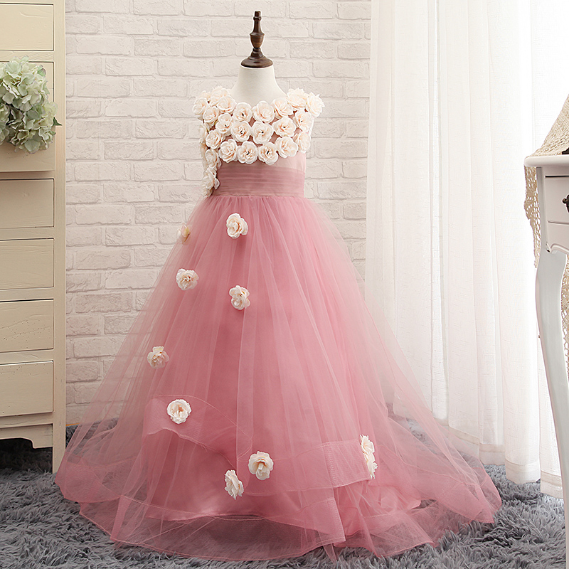 Flower Girl Dresses With Flowers Long Custom Tulle Toddler Girls Pageant Dresses With Train