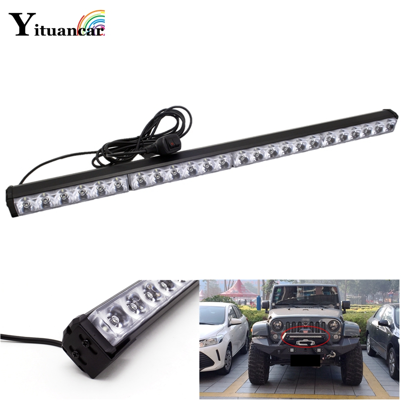 Yituancar 1Pcs 72W 90W 108W LED Strobe Flash Warning Car Fog Light Bar 13 Modes Styling Spot Beam Waterproof Emergency Work Lamp free shipping high power 72w car cob warning light car styling external emergency strobe light bar flash white lamp