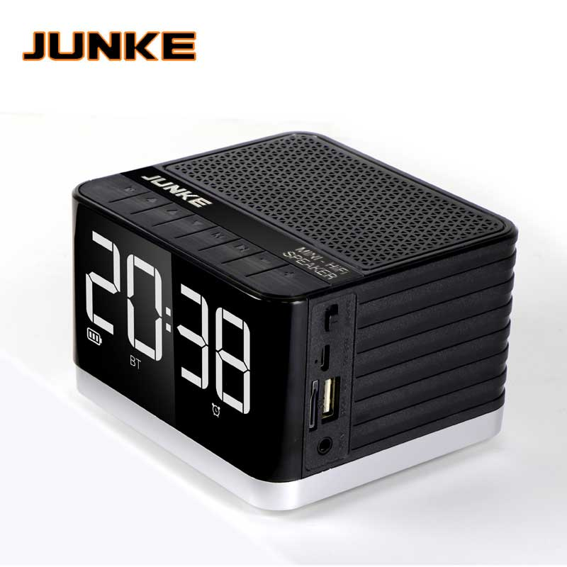 Junke Alarm Clock Bluetooth Speaker 5w Bass Subwoofer With Fm Radio Led Light Support Usb Tf Card Playback And Aux Input Column Vivid And Great In Style