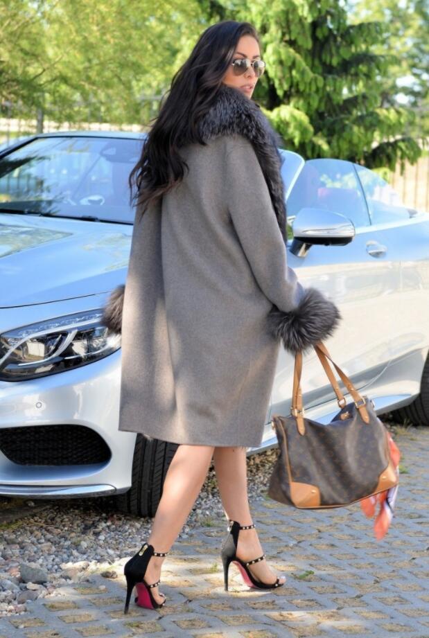 as khaki Pelt Femmes Complet Veste En Fox Manteau Picture Silver Cachemire Véritable grey Mode Laine De Picture Cuir as Col Picture 2018 Mélange As Fourrure wx1CaHXIq