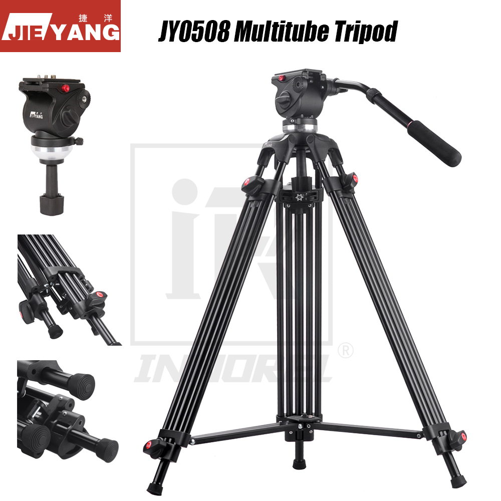 JIEYANG JY0508 Professional Multitube Tripod Stand Fluid Head For Panoramic Shooting Video Film DSLR Camera 75 161cm Height