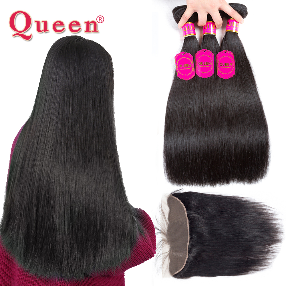 Queen Hair Products Brazilian Straight Human Hair Bundles With Frontal Closure Brazilian Virgin Hair Weave Bundles