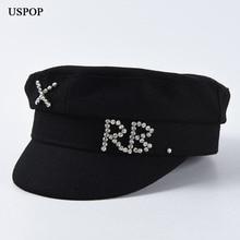 USPOP, новинка, зимние шапки для женщин, шерсть, газетные кепки, алмазные буквы, толстые, плоский верх, козырек, шапки, военные шапки