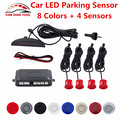 Car LED Parking Sensor Car Detector Double CPU 4 Sensors Kit 8 Colors For All Car Reverse Assistance Backup System Free Shipping