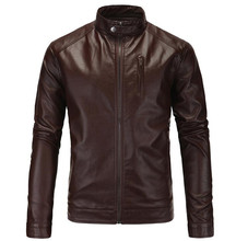 New Motorcycle Jacket Classic Vintage Mens PU Leather Jackets Brown Biker Coats Stand Collar Male Moto Size M-5XL