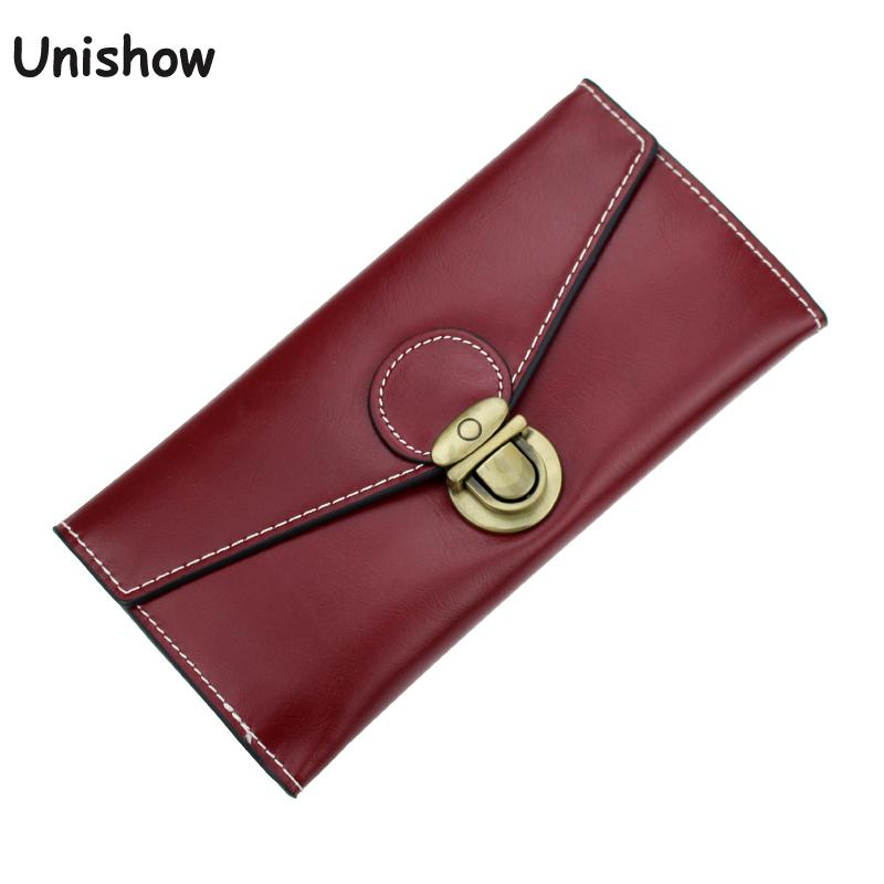 Fashion Small Lock Women Wallet Solid Envelope Long Wallet Female Oil Pu Leather Purse Brand Female Clutch Card Holder trendy women s clutch with envelope and twist lock design