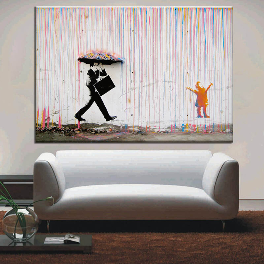Banksy Art Graffiti Colorful Rain Prints On Canvas Modern Canvas Painting Wall Art Posters And Prints For Living Room Decoration