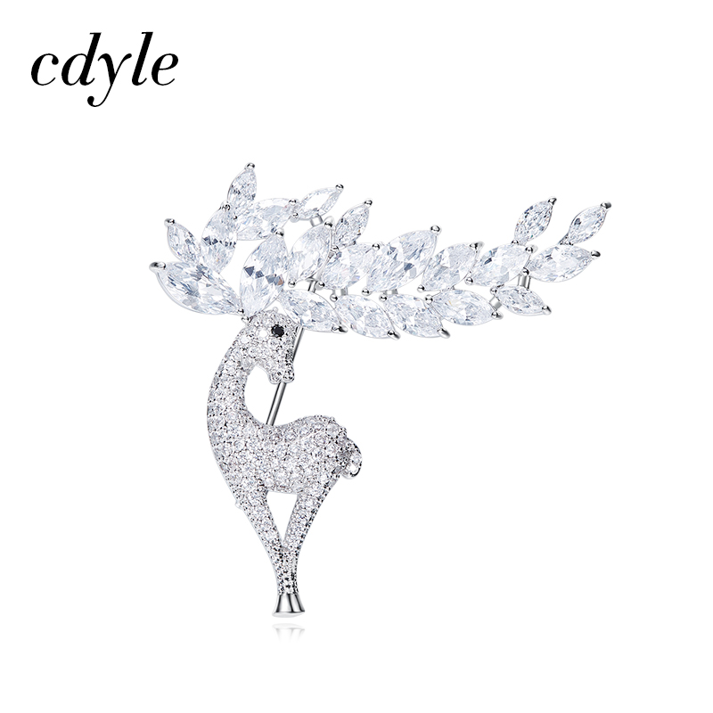 Cdyle Women Brooches Austrian Rhinestone Women Large Deer Shape Brooch Pin Vintage Fashion Jewelry New Women's Day Gift Chic chic rhinestone christmas deer shape brooch jewelry for women