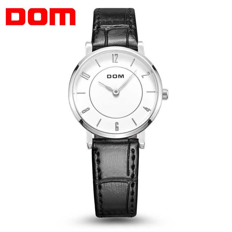 DOM mujer Reloj de moda de damas de lujo de cuarzo Reloj de pulsera de cuero de marca superior correa de Reloj relojes de mujer impermeable Reloj G31