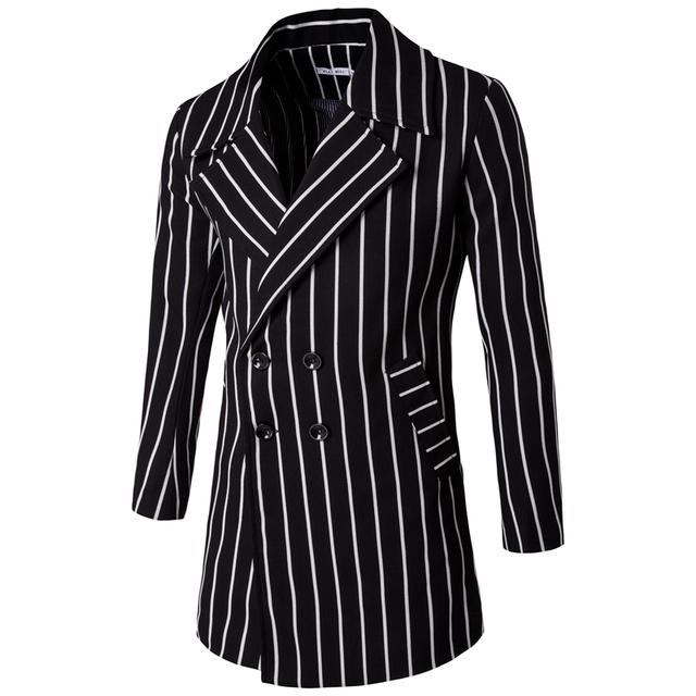 Nova primavera 2017 Casual Slim Fit Homens Jaqueta de Trincheira Longo Casaco Listrado Sobretudos Ouerwear Negócio Jaquetas Dupla Breasted Coreano
