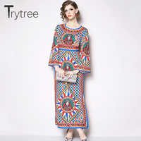 Trytree Spring Dress Elegant Silky Straight Women O Neck Printing Flare Sleeve dresses Ankle Length Casual Polyester Queen Dress