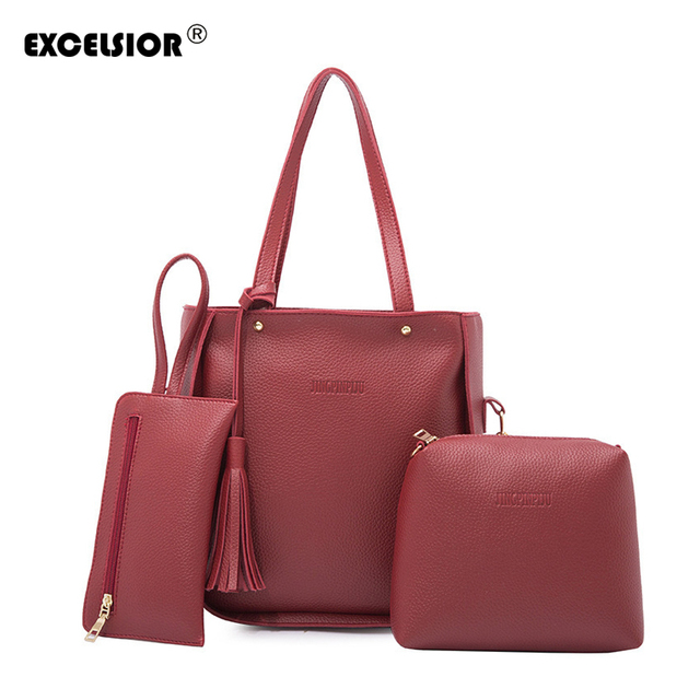 277eb81c5b11 US $13.34 42% OFF|EXCELSIOR Fashion PU Leather Women's Handbag 2019 New  Tassel Three Piece Women's Shoulder Bag Set Slung Portable Stylish Bags -in  ...