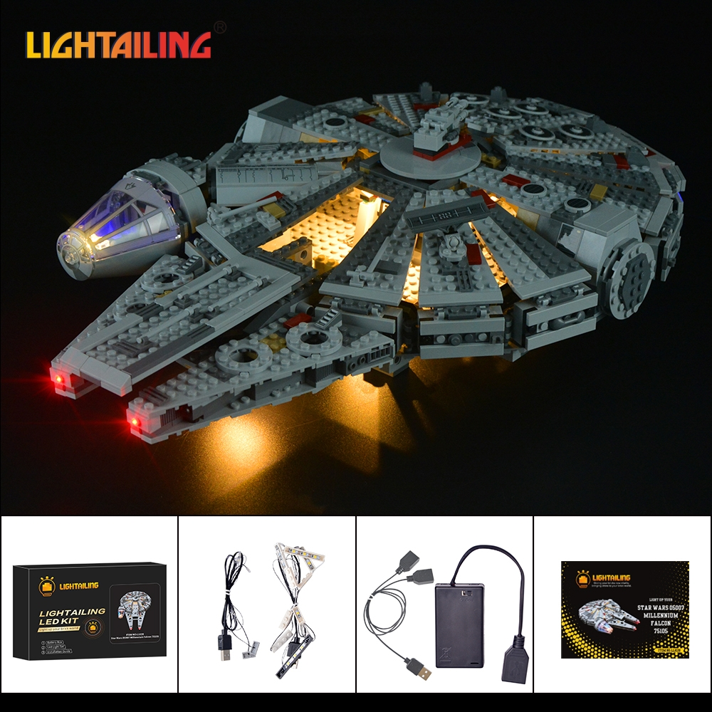 LIGHTAILING LED Light Kit For Star Wars Millennium Falcon Building Block Model Light Set Compatible With 05007 And 75105 игровой набор mattel star wars tie fighter vs millennium falcon 2 предмета cgw90