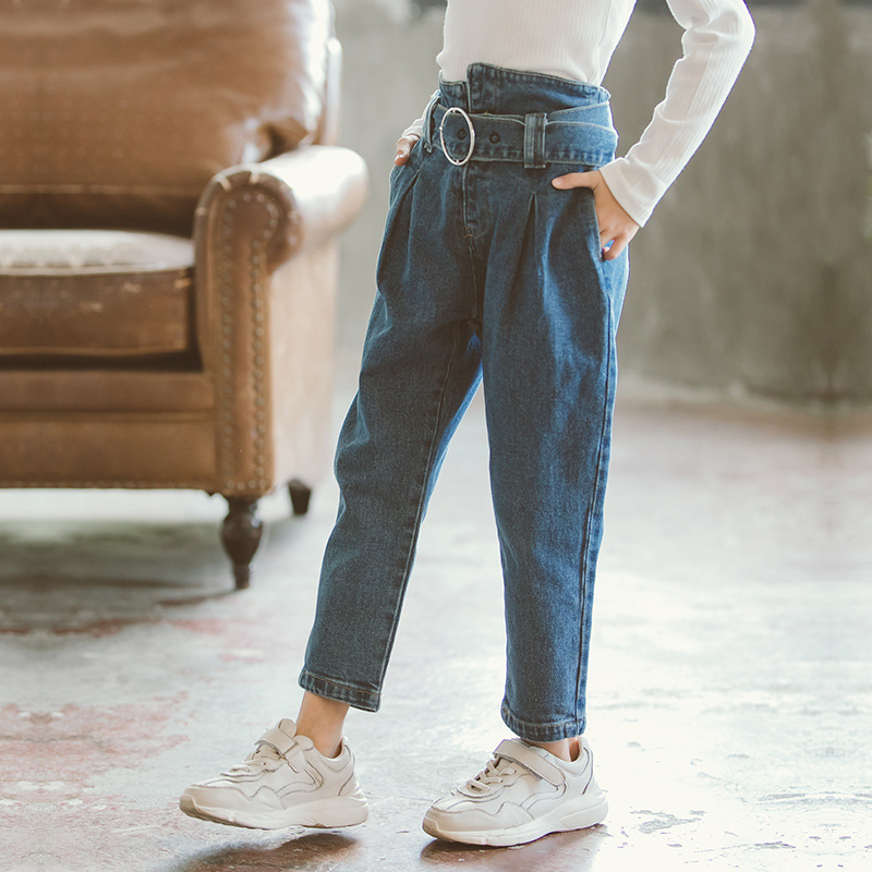 39213c8824ea7 2018 New Fashion Girls Jeans Baby Girl Boutique Clothes Fall Denim Pant  Teenagers Long Pants Trousers