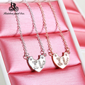 925 sterling silver heart necklace pendant W chain austrian crystal fashion jewelry valentine day gifts for women A587