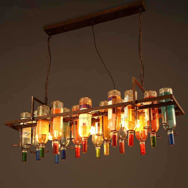 Loft Retro Chandelier Creative Restaurant Living Room Personality Bar Coffee Hanging Lights Decoration Bottle Iron Chandeliers
