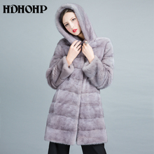 HDHOHP 2017 New Women's Real Fur Coats Natural Mink Fur Coats Fashion Warm Winter Fur Jackets Outwear Long Fur Parka For Female