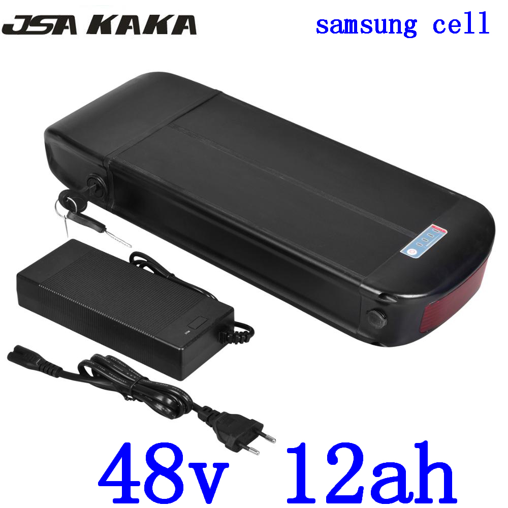 48V Lithium battery 48V 12AH Electric Bike battery 48V 12ah  scooter li-ion battery use samsung cell with charger+ Luggage Rack48V Lithium battery 48V 12AH Electric Bike battery 48V 12ah  scooter li-ion battery use samsung cell with charger+ Luggage Rack