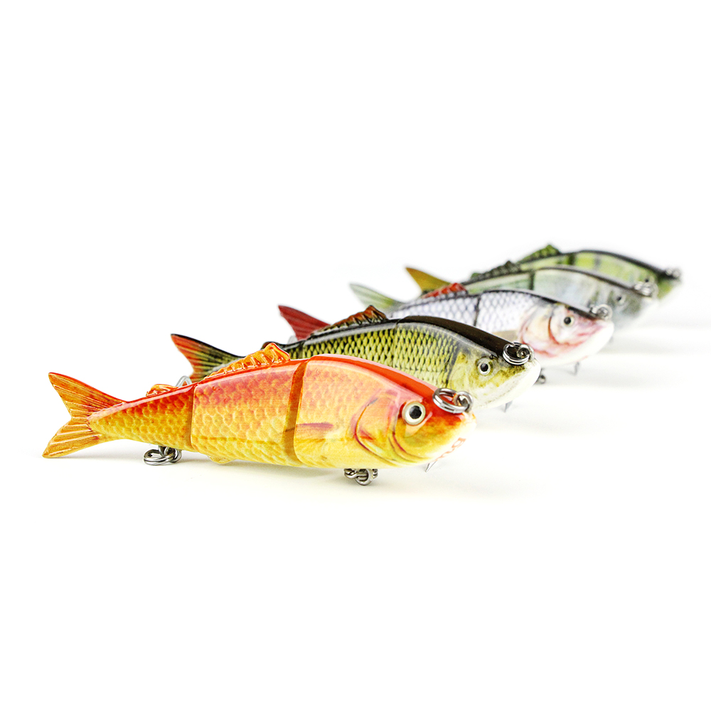 Mmlong 5pcs 3.2 Fishing Lure 3 Multi Jointed Swimbait 7.7g Lifelike Crankbait VMC Hook Fish Bait Fishing Wobbler Tackle AL03B-2 high quality fishing lure fish bait 6 section jointed vib lure 10cm 17g wobbler vibration bait swimbait fishing tackle