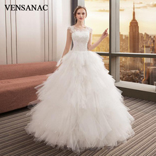 VENSANAC Crystal Pearls O Neck Feathers Ball Gown Wedding Dresses 2018 Lace Appliques Backless Tulle Bridal Gowns