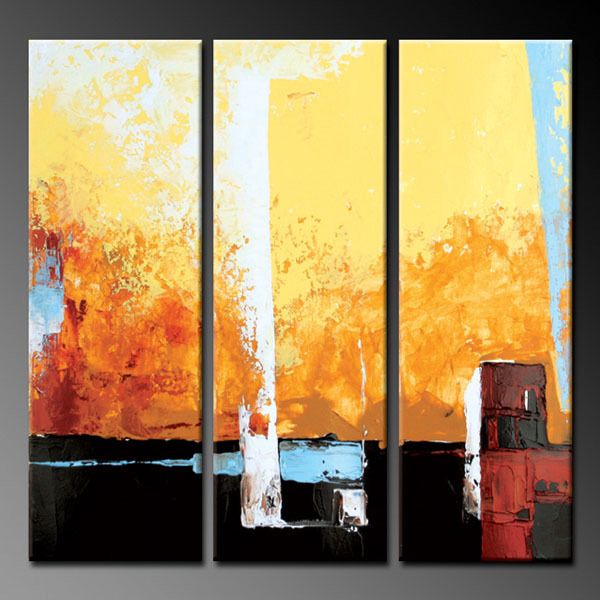 3 pcs Hand Painted Modern Abstract Yellow Canvas Oil Painting Wall ...