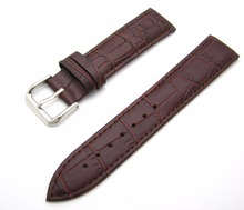 цена на 12 14 16 18 20 22 24mm New Men Women Genuine Leather Dark Brown Classic Alligator Grain Watch Band Strap Belt Silver Pin Buckle